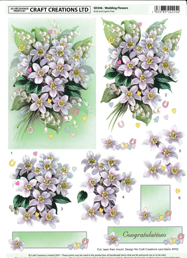 Love Your Flower Crafted Creations Designer Decoupage Card Making Kit