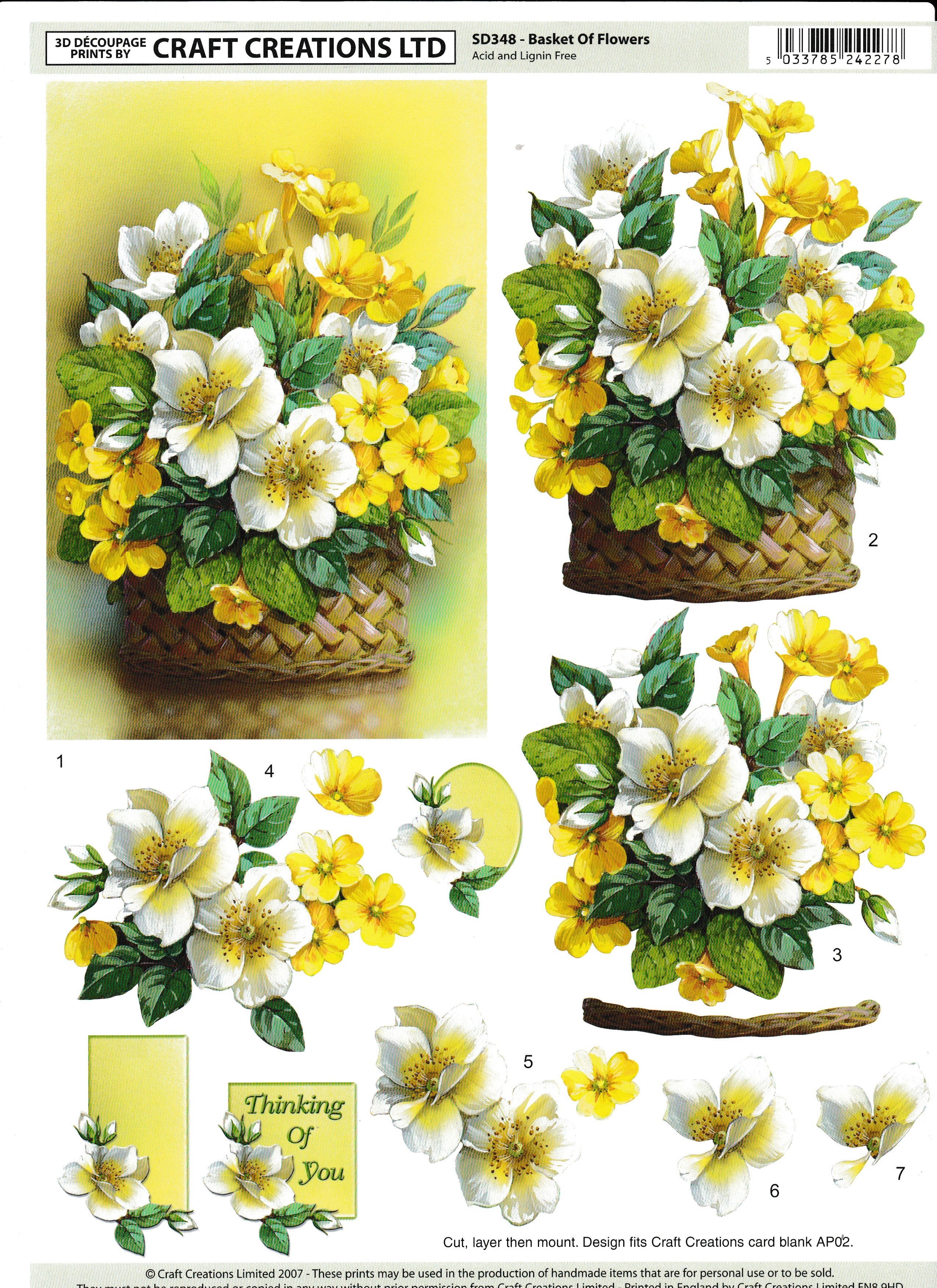 cc flowers in a basket decoupage sd348 card making craft supplies