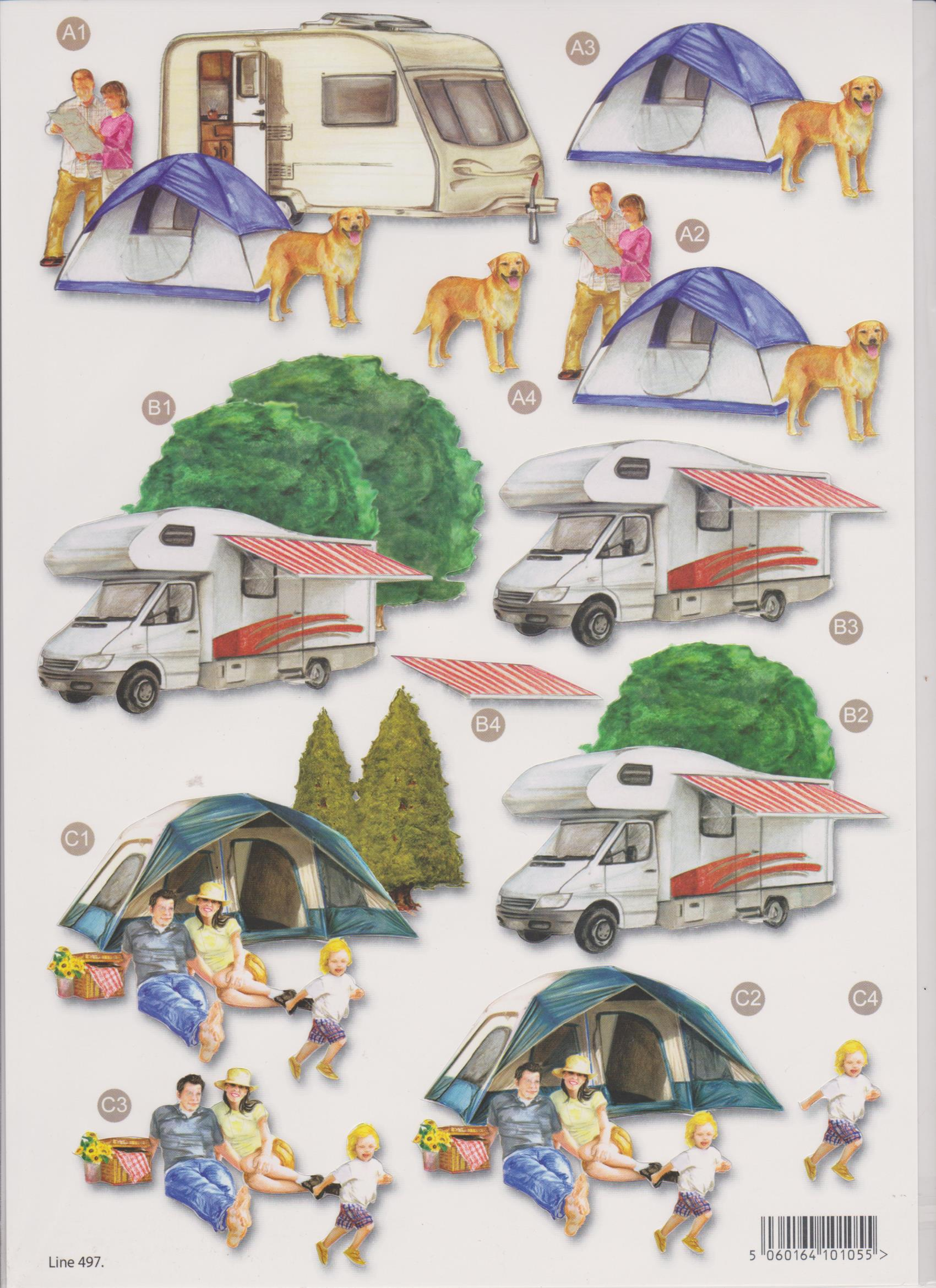 Camping Die Cut Decoupage 497 - Card Making & Craft Supplies